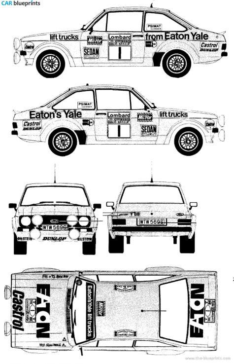 Ford E Escort Mk.II RS1800 Rallye Coupe blueprint
