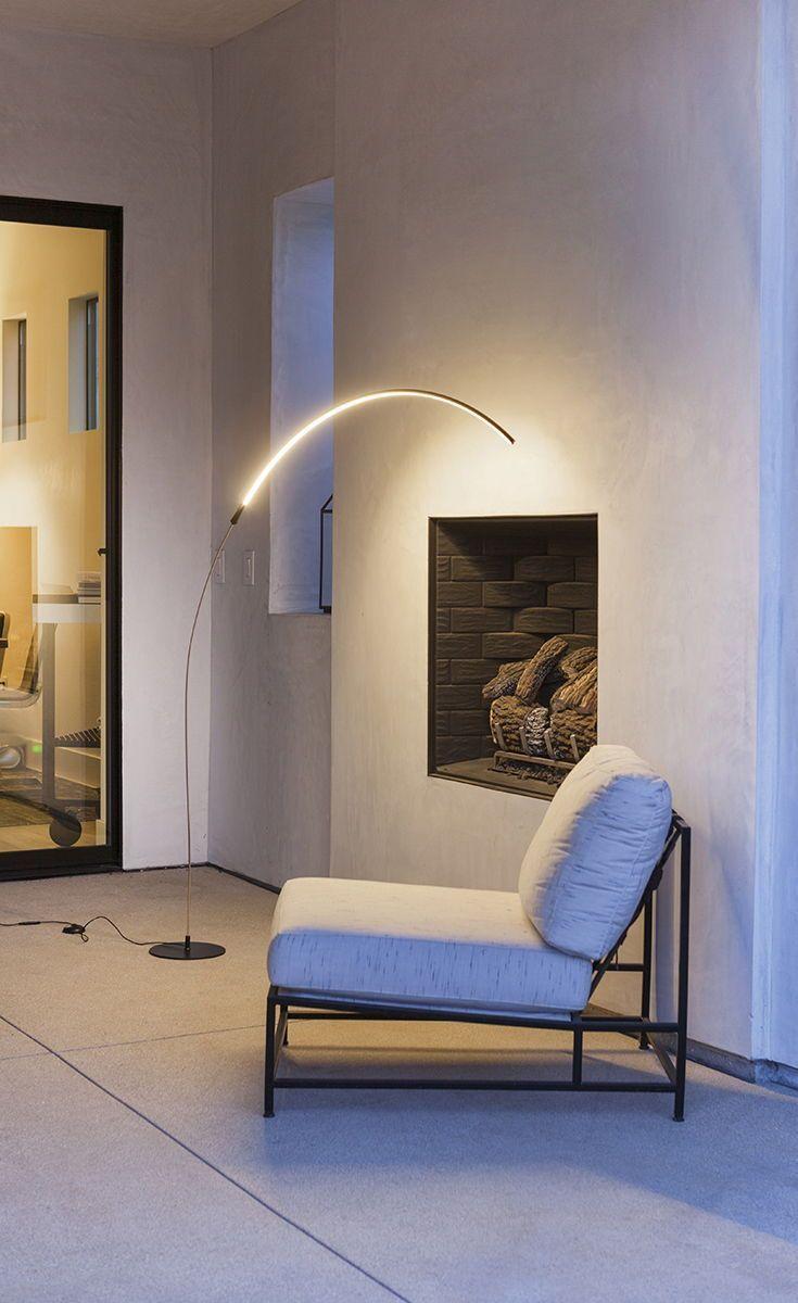 Sparq Arc Led Floor Lamp Over The Sofa Living Room Light Dims