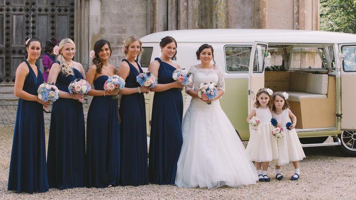 Bride, Bridesmaids, flowers girl formal wedding photography