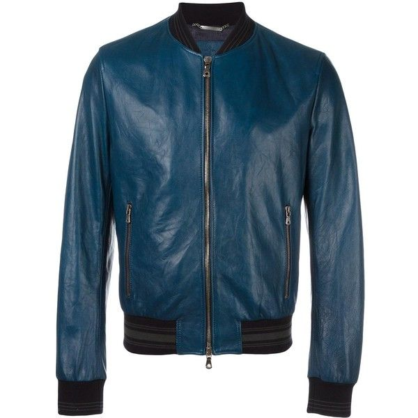 Dolce & Gabbana leather bomber jacket (3,470 CAD) ❤ liked on Polyvore featuring men's fashion, men's clothing, men's outerwear, men's jackets, blue, mens leather jackets, mens blue leather jacket, mens summer jackets, mens blue jacket and mens leather flight jacket