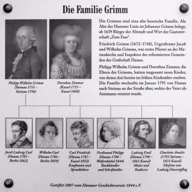 Information board on the new house at Freiheitsplatz in Hanau where the original birthplace of the Grimm Brother used to be