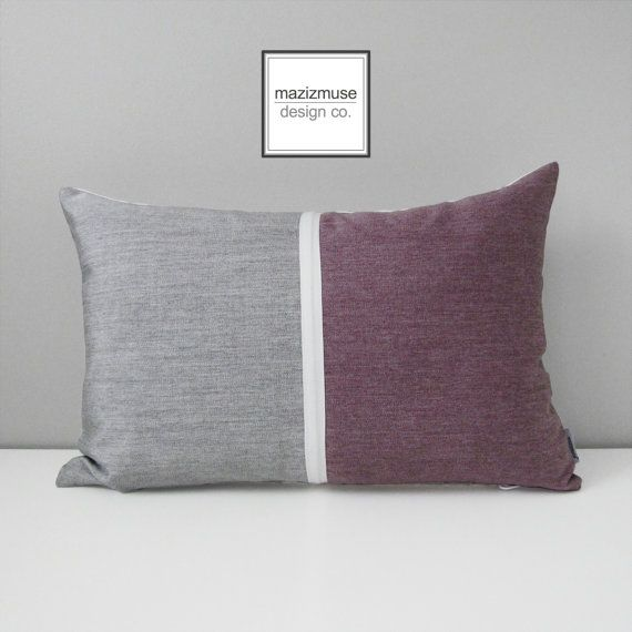 Grey & Mauve Outdoor Pillow Cover Modern Silver Grey by Mazizmuse