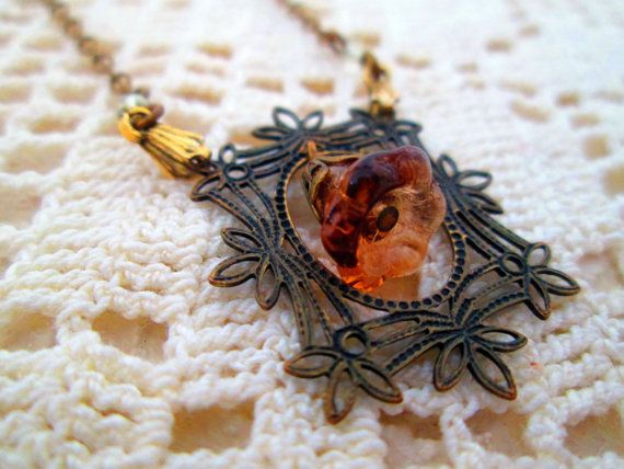 Vintage Victorian Revival Necklace Choker Brass with amber glass flower