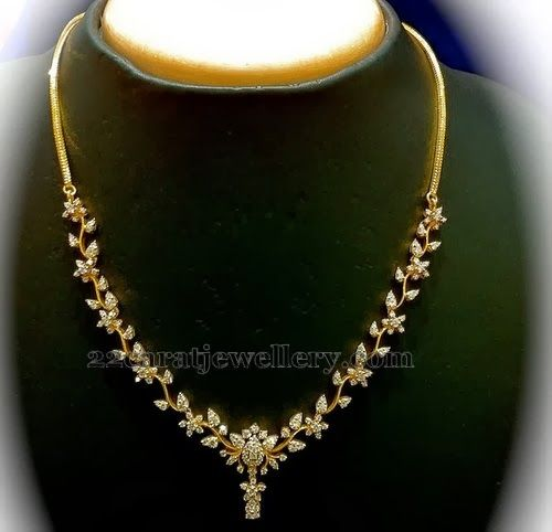 Jewellery Designs: Diamond Necklace Range 1 to 2lakh
