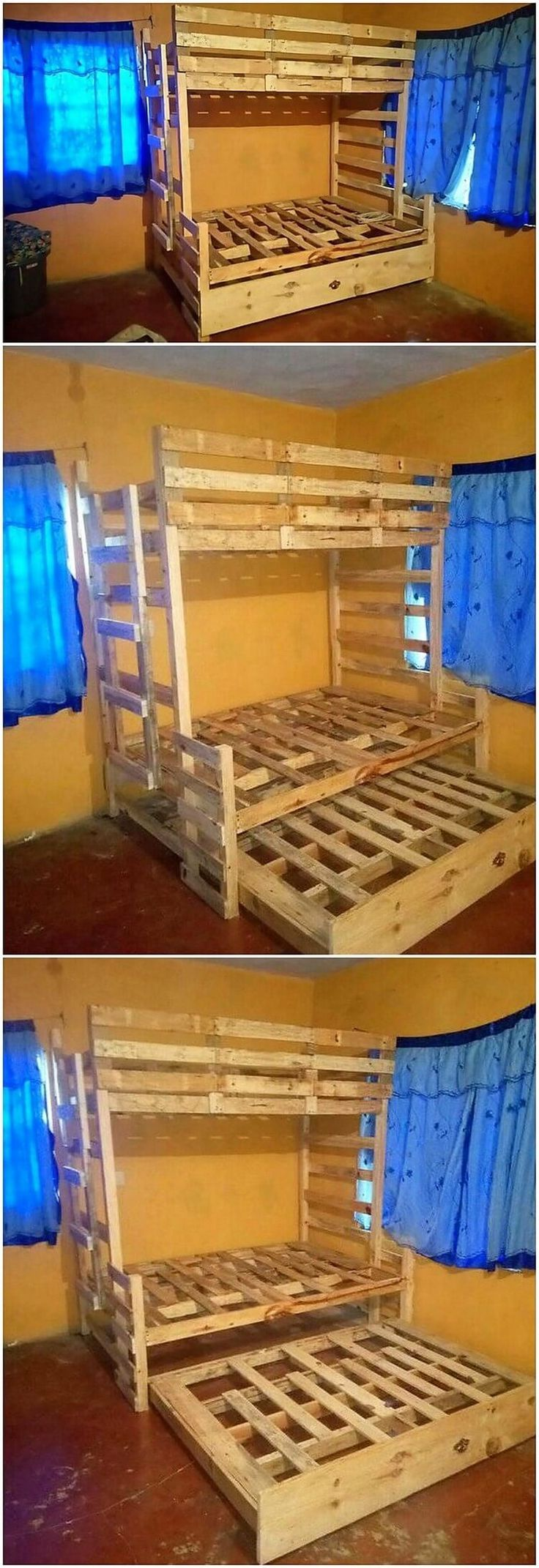 In this idea of the rustic wood pallet double bunk bed you can view the excess of the planks of the wood pallet stacking that are used in it. It is a form of the long giant bunk bed that is much design in the old fashion wood pallet designs. You can even ideally make it place in your bedroom or kids room.