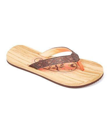 Love this Mambo Coral Contrast Overaly Flip-Flop - Women on #zulily! #zulilyfinds