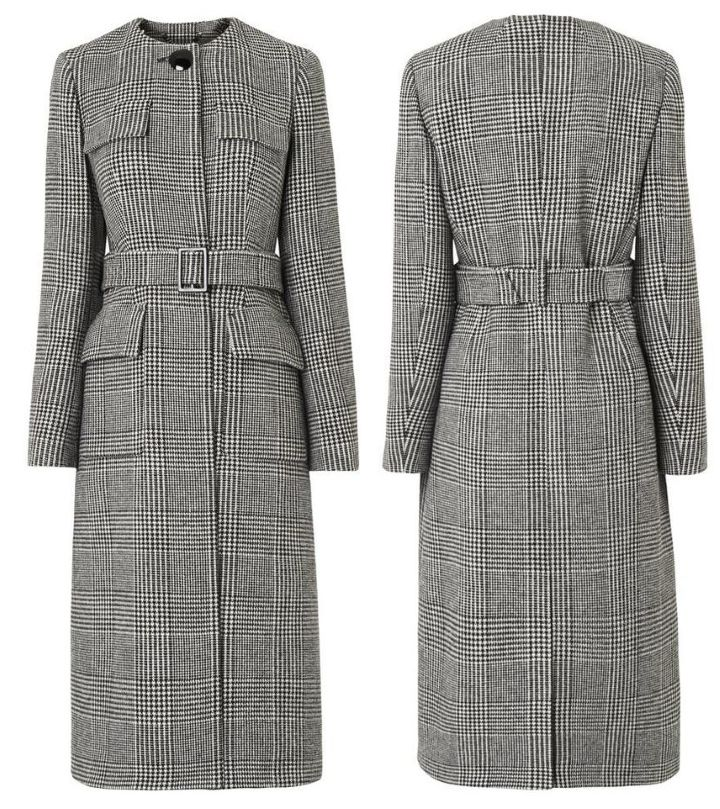 The Duchess wore the chic L.K. Bennett Delli Check Coat today (with thanks to HeavenQRF). The piece is cut from a fine houndstooth weave in virgin wool. It features a crew neckline, a concealed button-down front and military flap pockets and a flared skirt. It retails for £495 on the L.K. Bennett website and John Lewis.