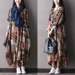 Cotton linen loose fitting long sleeve dress - One size (US 6-14)