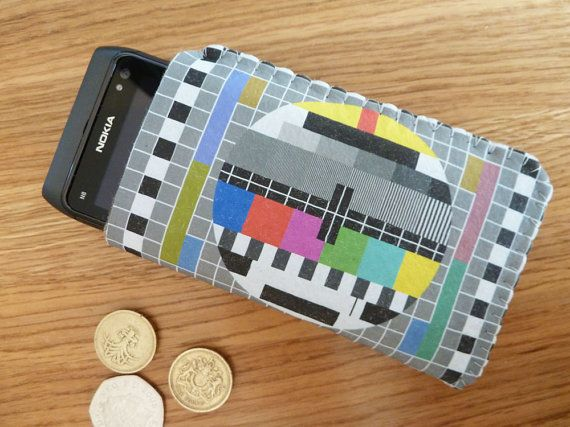 Phone case based on British TV test pattern.