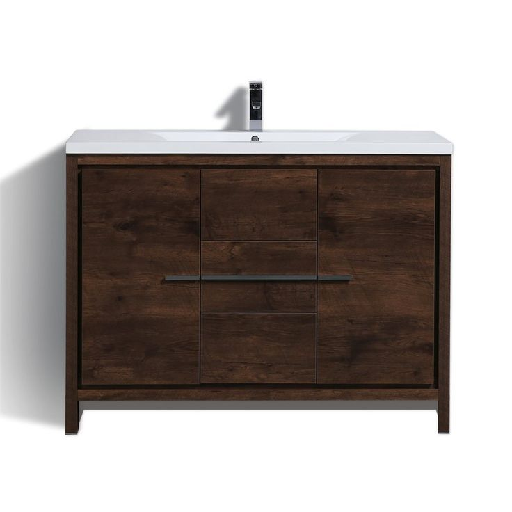 This Standing Modern Single Bathroom Vanity Set is one of the most elegant modern bathroom vanities around. This single sink model comes with a durable pure white reinforced acrylic countertop and features 2 doors and 3 drawers with high quality European hardware, that provides smooth soft-closing operation. Top and bottom drawers features push-open operation.
