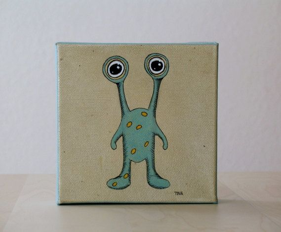 Small Canvas Painting 5x5 Alien Monster Art
