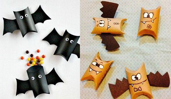 manualidades Halloween colgantes rollo muercielagos Manualidades de papel para Halloween