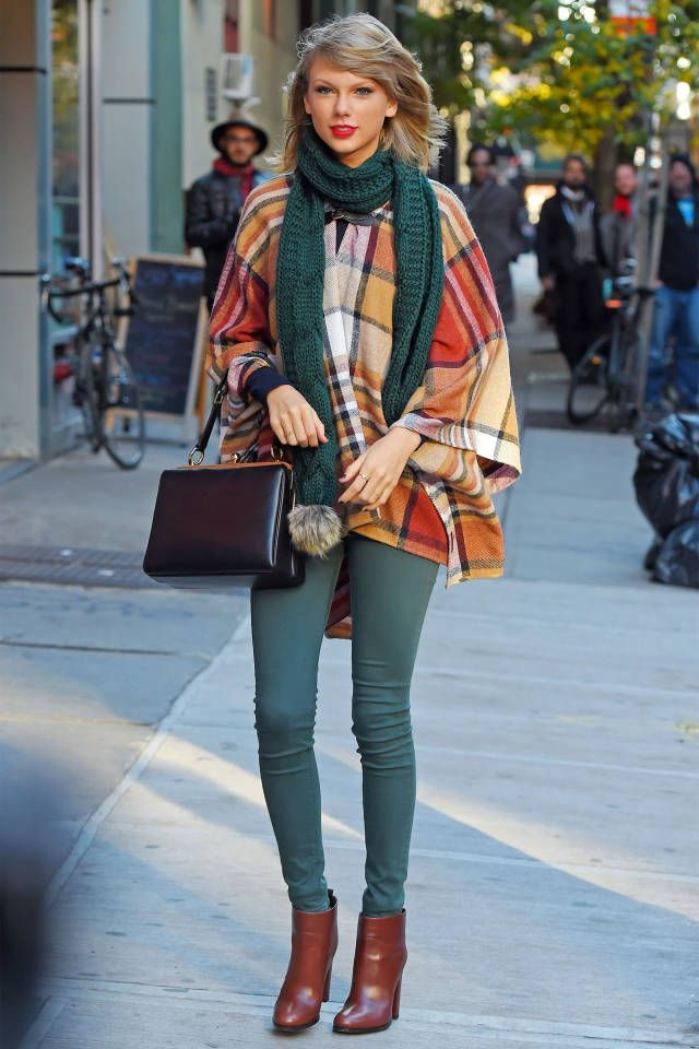 Taylor Swift went for green denim with her warm-colored look