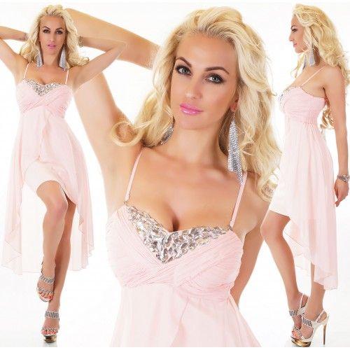 22413S Φόρεμα Ασύμμετρο Σιφόν Ροζ