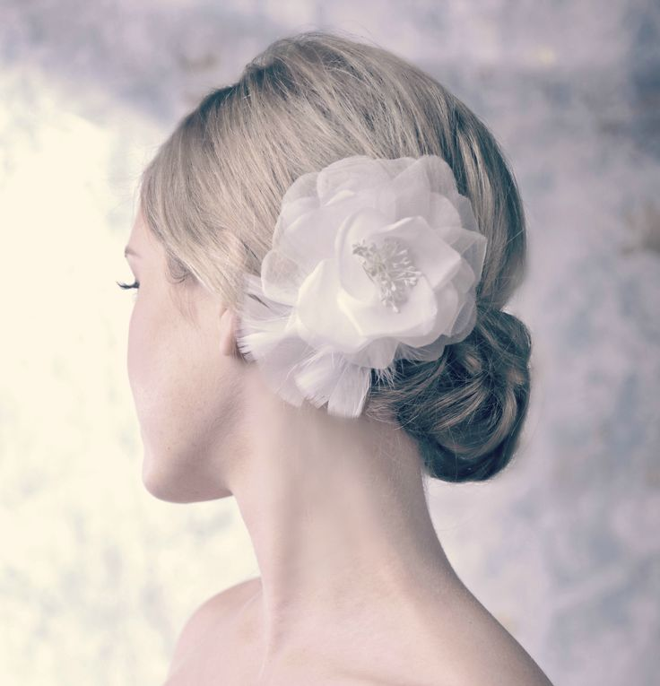 Organza Peony with Feathers hair comb by Erin Fitzpatrick