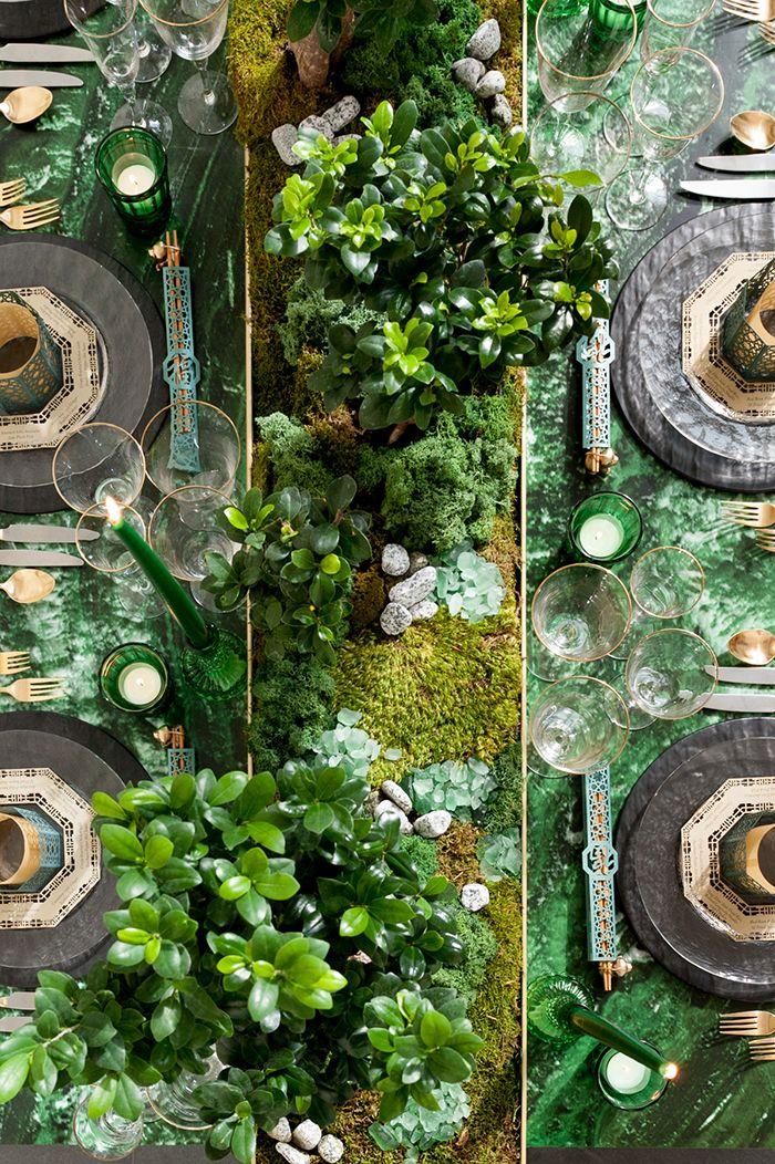 Luxe Greenery Wedding Tablescape with Bonsai Centerpieces  https://heyweddinglady.com/luxe-asian-wedding-inspiration-lunar-new-year/    #wedding#weddings#weddingideas#engaged#eventdesign#asianweddings#chineseweddings#weddinginspiration #weddingreception #reception #luxewedding #dreamwedding #greenweddings #green