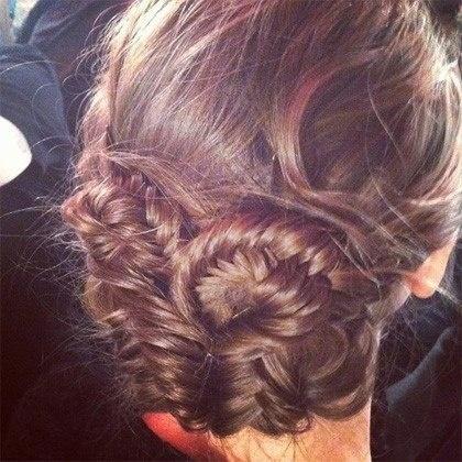 twisted fishtail braid bun. This looks so cute!
