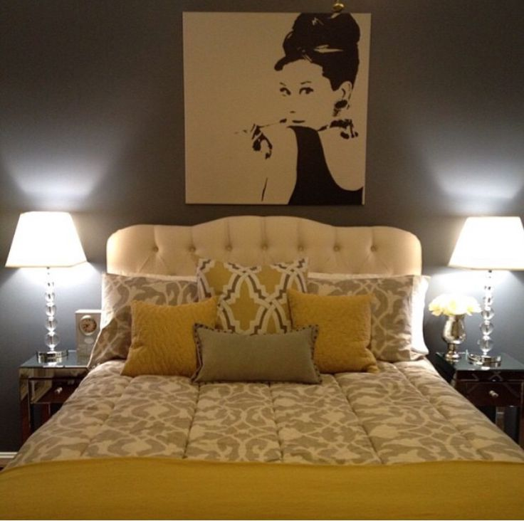 New Bedroom Look: Grey & Ivory Theme With Mustard Yellow