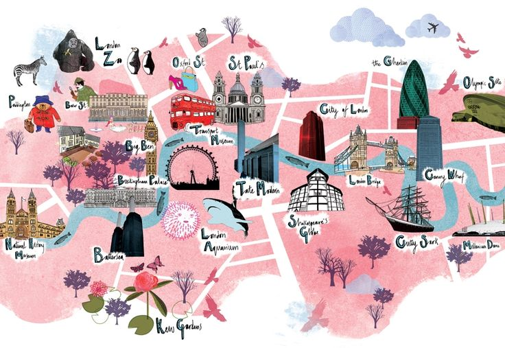 #tourist #map illustration with major sights in #london
