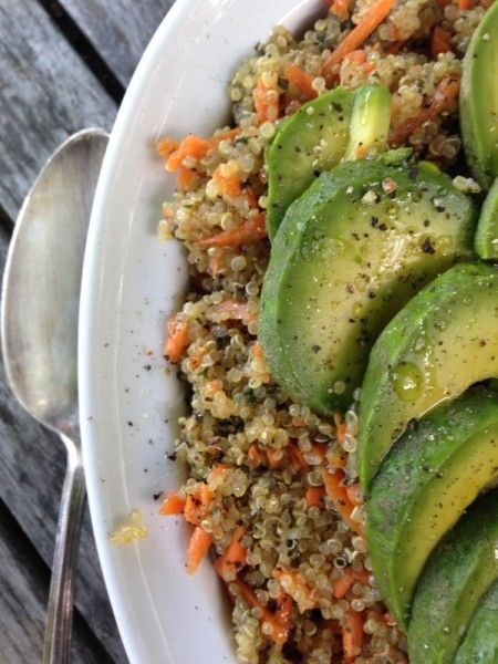 ... salad with avocado quinoa salad honey carrots close up carrot salad