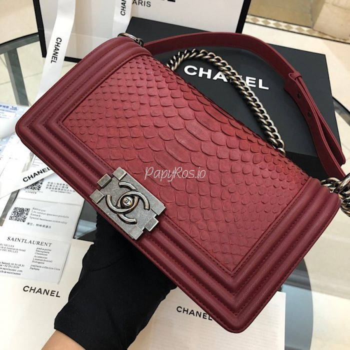 a2ccc355649b Chanel Python Boy Chanel Flap Bag Ruthenium Hardware Claret Red ...