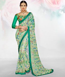 Buy Green Polyester Georgette Printed Saree 76321 with blouse online at lowest price from vast collection of sarees at Indianclothstore.com.