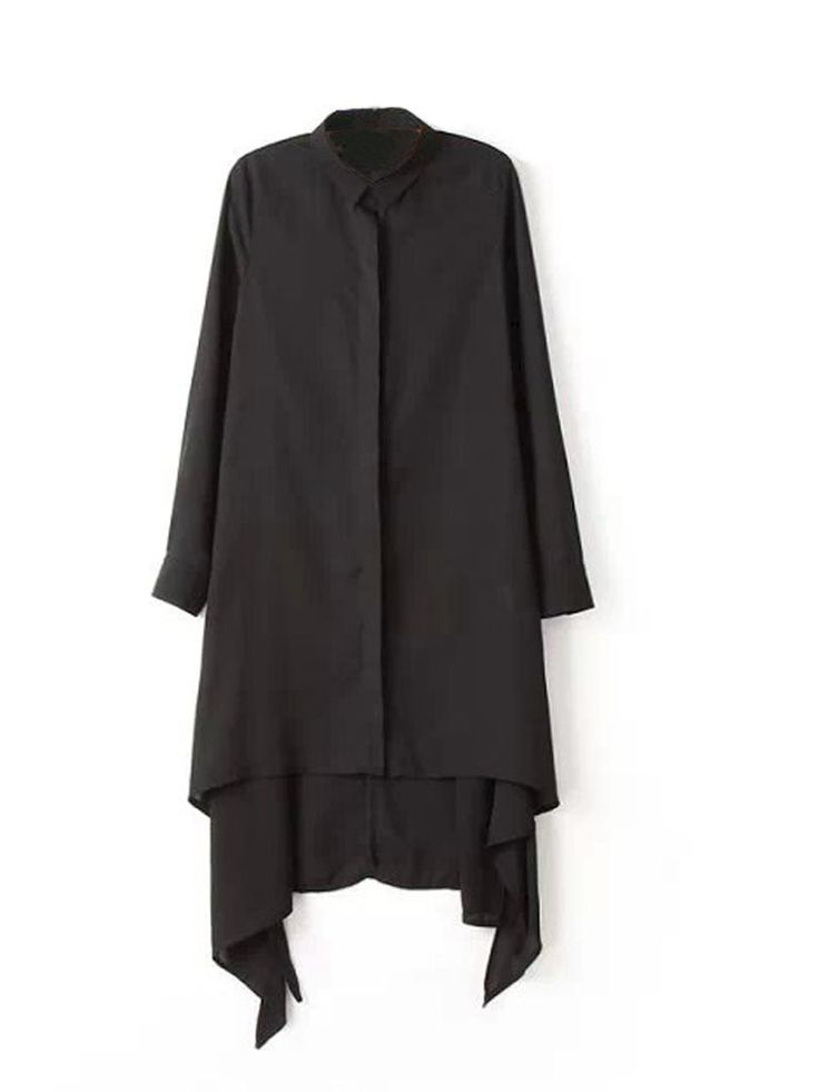 Black Long Sleeve Tunic With Irregular Hem