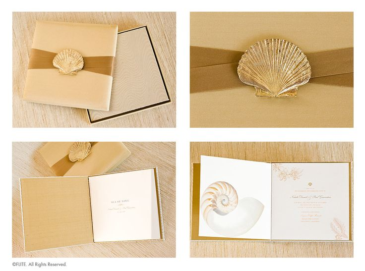 A shimmering silk box adorned with a luxurious cotton sateen ribbon, affixed with a gilded metal shell, opens to unveil a hidden treasure. Concealed within, is an invitation as intricately detailed as any seashell! Wrapped in an iridescent brocade with a wave pattern that evokes the seaside, this book features pages of oceanic verse and illustration, all set in the pale hues of shell, sand, silver and pale gold. The RSVP card is featured within the book as a perforated postcard.