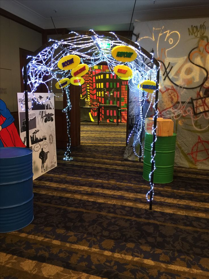entrance arch, LED lights, boom, shazam, smack, boom, superhero event, super hero, villain, heroine, event