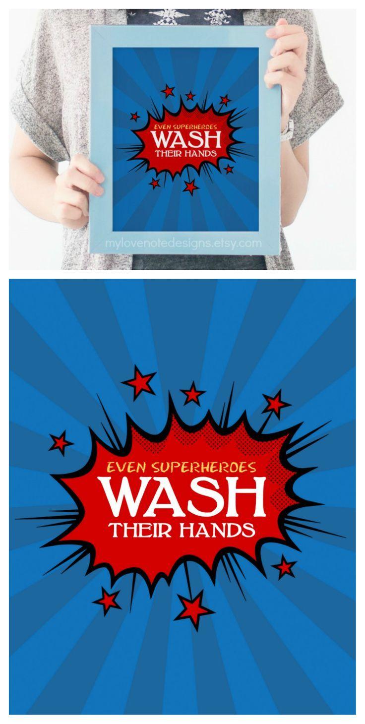 Bathroom logos ideas - Free Printable Superhero Bathroom Art