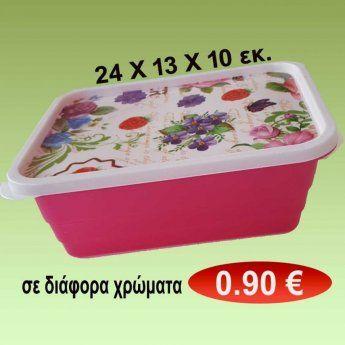 Δοχείο φαγητού 24 Χ 13 Χ 10 εκ. σε διάφορα χρώματα 0,90 €-Ευρω