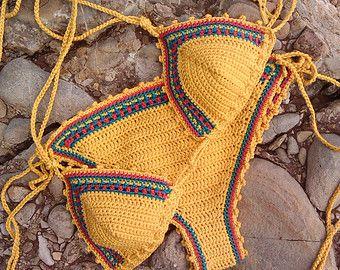 crochet bikini Dark Blue Crochet Vintage by GoodMoodCreations