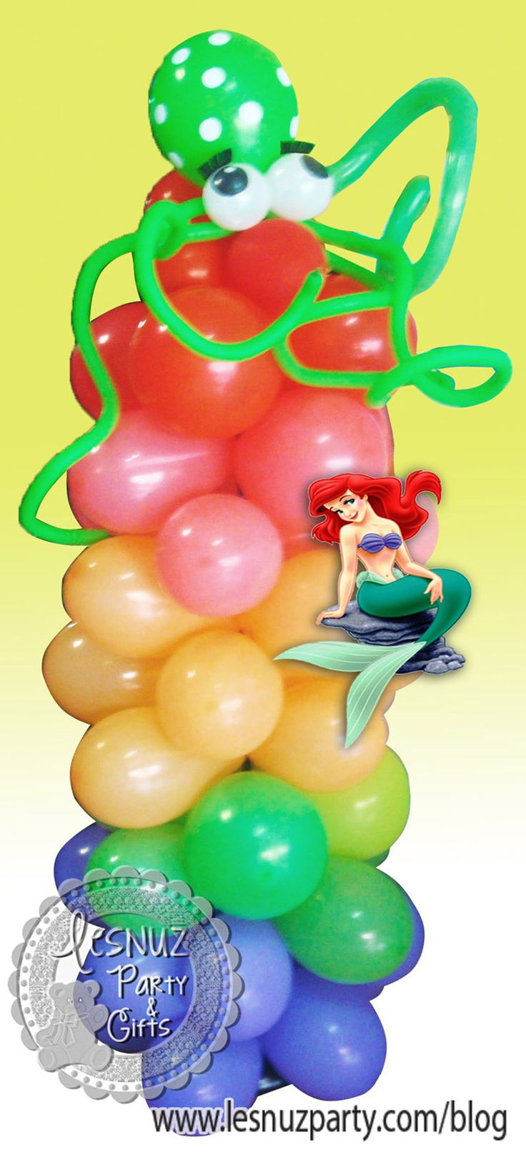Torre de globos multicolor con pulpo - multicolored balloons tower