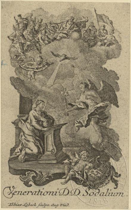 Zvěstování ~ Annunciation; Zvěstování  Panny Marie, archanděl Gabriel  -  Venerationi D.D.Sodalium; svaté orbázky, 1. polovina 18. století, lept; uloženo v Knihovně Národního muzea