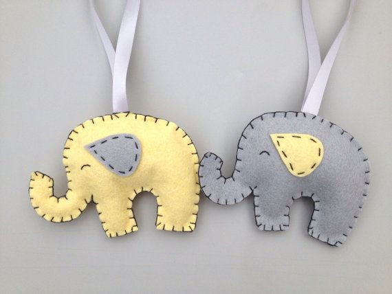 Felt Elephant Ornament Grey and Yellow Elephant por SoSimpleSoSweet