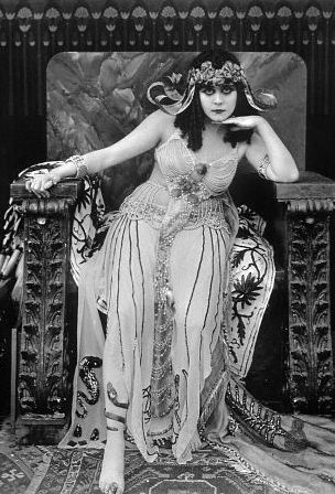 "Theda Bara, ""The Vamp"", as Cleopatra. One of the most popular actresses of the silent era, and one of cinema's earliest sex symbols. Her femme fatale roles earned her the nickname The Vamp (short for vampire). ""She was one of the most popular movie stars, ranking behind only Charlie Chaplin and Mary Pickford."" Wikipedia"