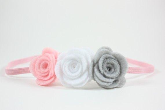 Diademas rosa blanco gris recién nacido niña por BlueSkyDesignsCo