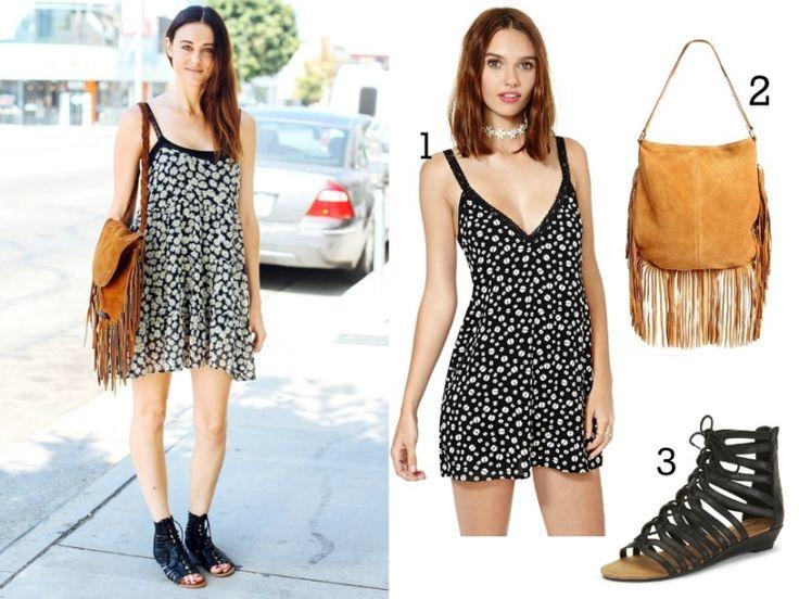 Was soll ich heute anziehen Minikleid-Hipster-Tasche-Fransen-Römersandalen