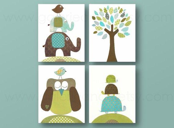 Lot de 4 illustrations pour chambre d'enfant et bebe, bleu, vert