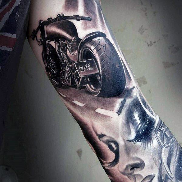 Manly Motorcycle Chopper Tattoo Ideas