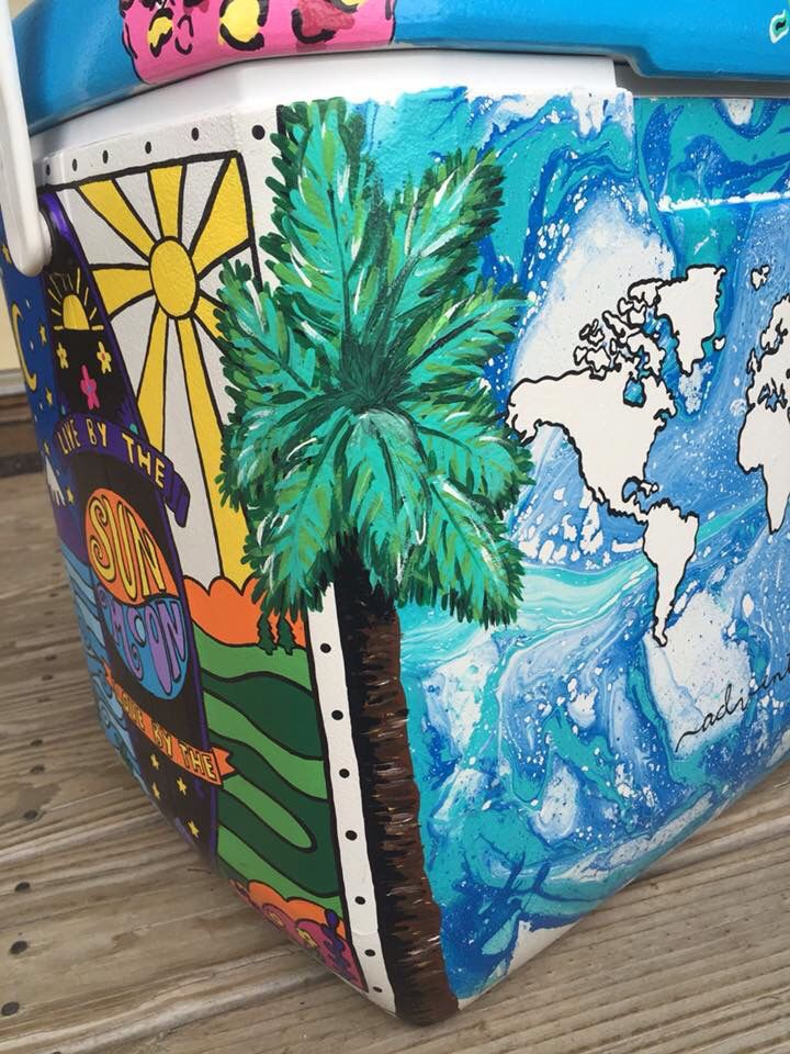 Palm tree beach cooler sorority