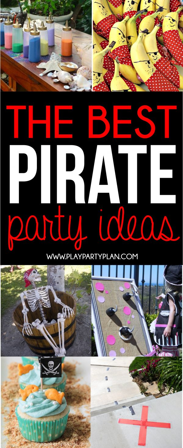The ultimate collection of pirate party ideas! From ideas you can DIY to ideas you can buy, if you're planning a pirate party, these ideas are for you! Pirate food ideas, pirate game ideas, and more!