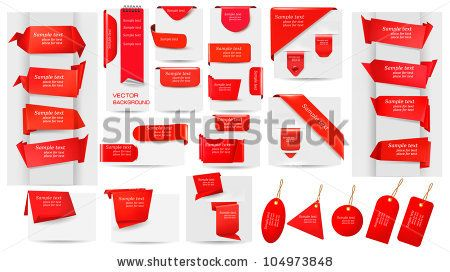 Big collection of red origami paper banners and stickers and labels. Vector illustration - stock vector