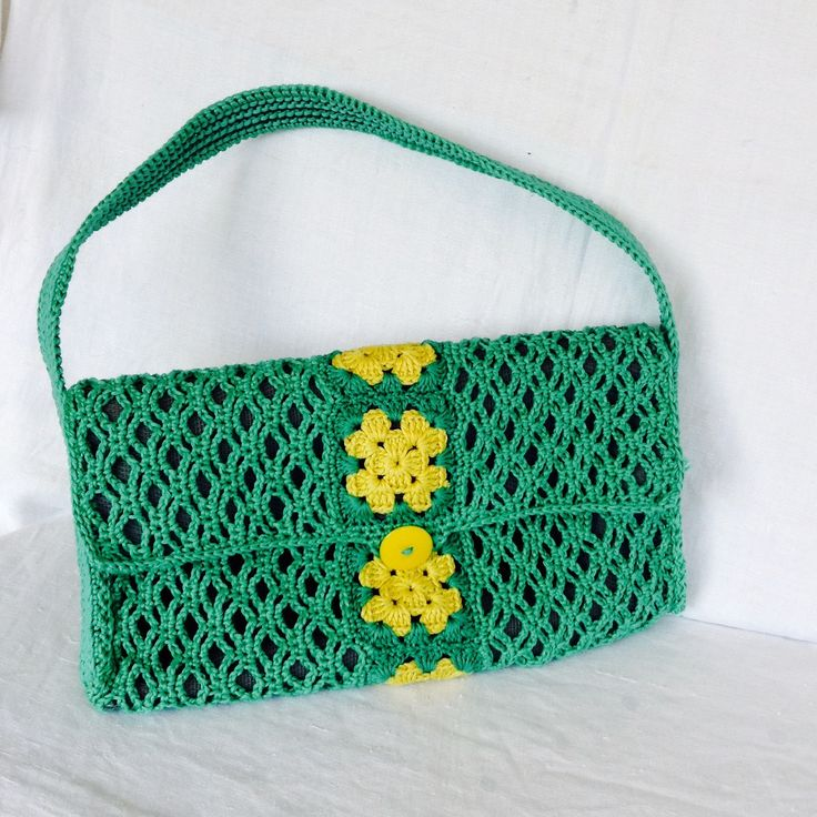 "Borsetta in cotone verde con ""quadrotti"" in giallo : Borsette di bags-dream-team"