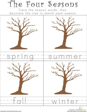 Kindergarten Building Words Weather & Seasons Worksheets: Writing the Four Seasons