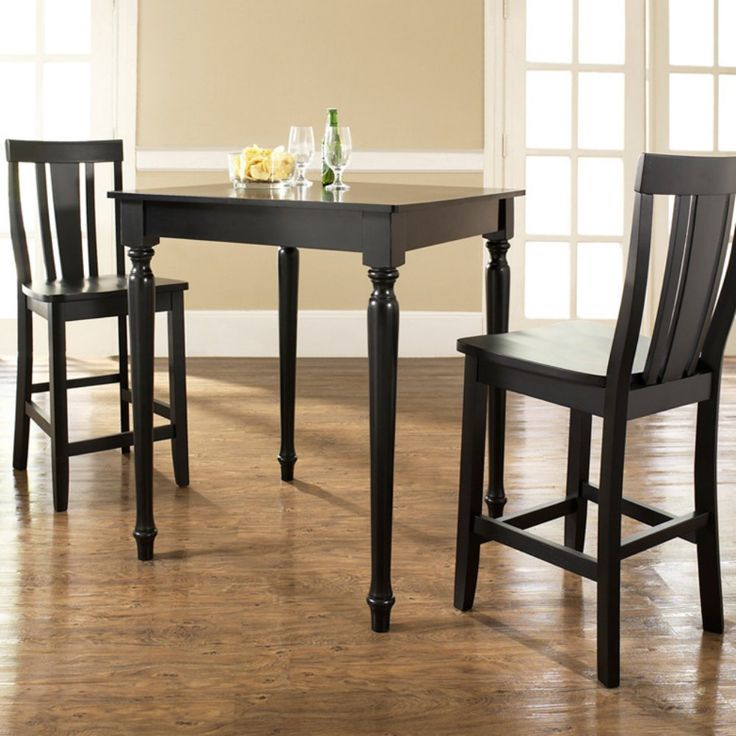 Crosley 3-Piece Pub Dining Set with Turned Leg and Shield Back Stools - Indoor Bistro Sets at Hayneedle