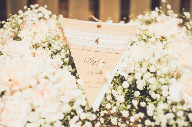 Rustic vintage bunting wedding invitations by Sian-Louise 💜
