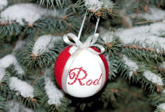Personalized Christmas tree ball  natural linen covered by RedPin, $25.00