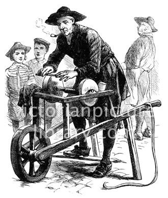 Knife grinder. Victorian illustration of a street trader, a knife grinder. A pipe in his mouth, he sharpens a knife on a grinding wheel operated by a treadle which is fixed to a barrow. Download high quality jpeg for just £5. Perfect for framing, logos, letterheads, and greetings cards.