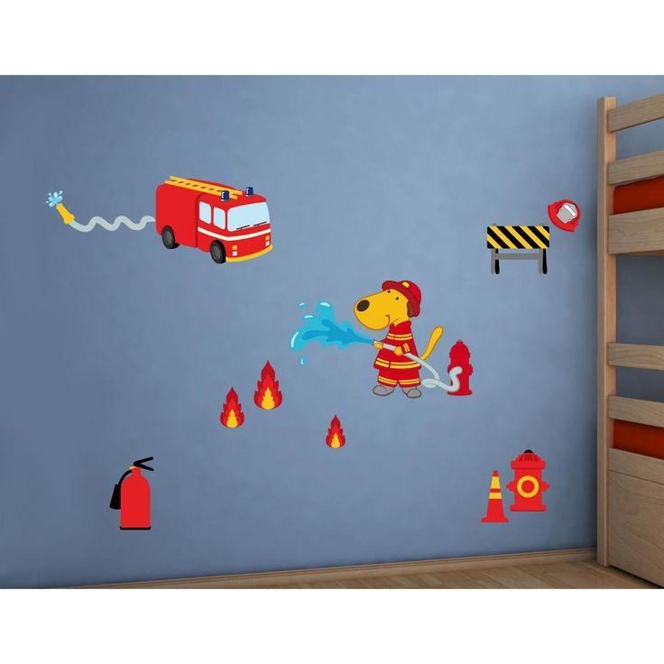 Πυροσβέστης διακοσμητικά παιδικά αυτοκόλλητα τοίχου επανατοποθετούμενα L μέγεθος
